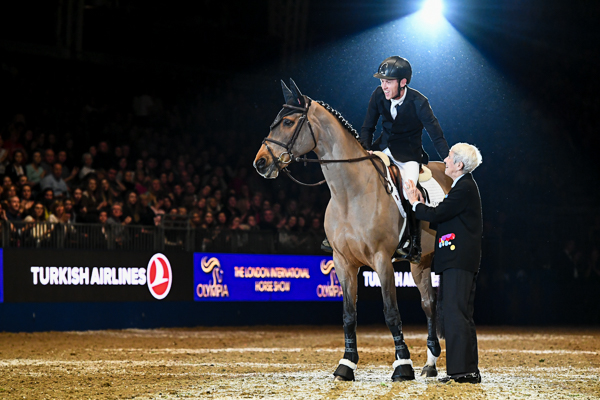 Scott Brash riding Ursula, with Lady Harris on the retirement of Ursula during the Olympia, The London International Horse Show held at Olympia in London in the UK between 17 - 23 December 2018
