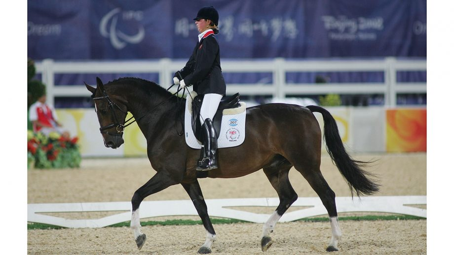 HONG KONG, CHINA - SEPTEMBER 10: Coulthard Felicity of Great Britain with horse Roffelaar competes in the Paralympic Equestrian Individual Freestyle Test - Grade II event at Hong Kong Olympic Equestrian Venue on September 10, 2008 in Hong Kong, China. (Photo by MN Chan/Getty Images)