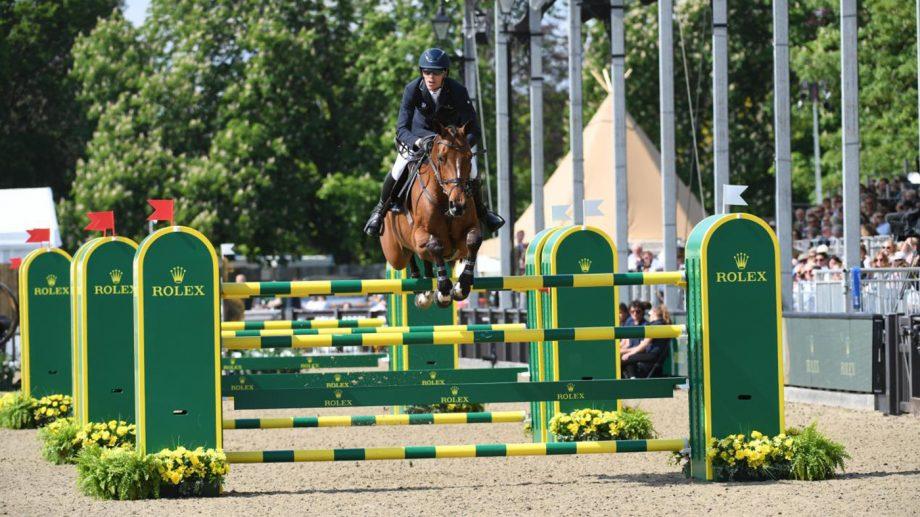 Sweden's Henrik von Eckermann and Toveks Mary Lou jumping at Royal Windsor 2019