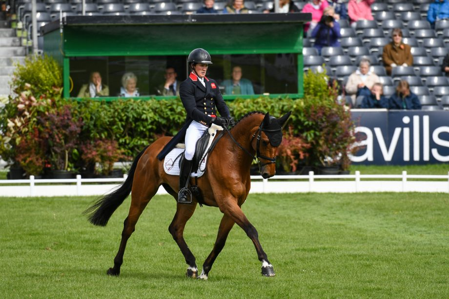 Eventing dressage scoring: Tom McEwen on his way to second place after the first day of dressage with Toledo De Kerser