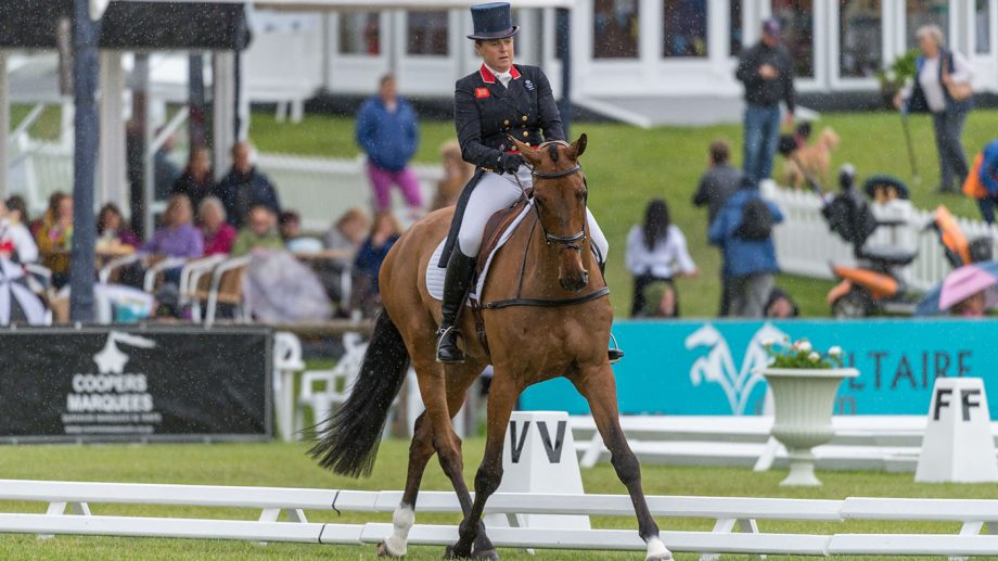 PIPPA FUNNELL (GBR) AND BILLY WALK ON TAKING PART IN DRESSAGE PHASE OF THE EQUI-TREK CCI-L4* COMPETITION AT THE 2019 EQUI-TREK BRAMHAM INTERNATIONAL HORSE TRIALS.