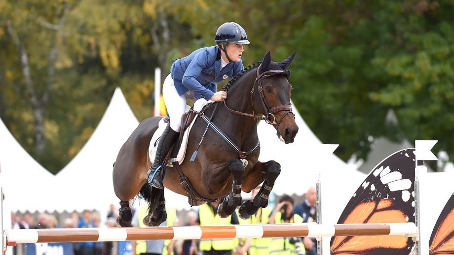 Camilla SPEIRS (IRL) riding PORTERSIZE JUST A JIFF during the Show Jumping phase of Pau CC**** near Pau in the Pyrenees region of France on 16th October 2016