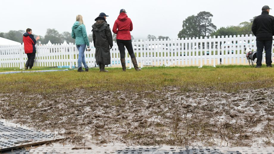 flooding weather rain flood The Team at the Equerry Bolesworth International Horse Show dealing with the weather conditions to keep the show on the road, held at Bolesworth Castle, near Chester in Cheshire in the UK between 12-16th June 2019