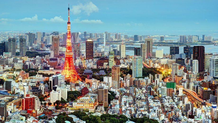 DC79KJ Tokyo, Japan cityscape at Tokyo Tower.