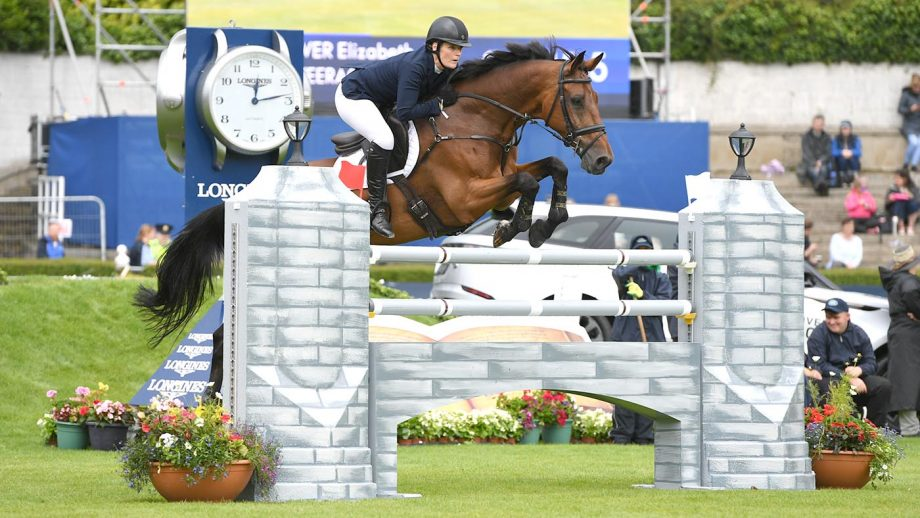 Elizabeth Power and DOONAVEERAGH O ONE, in the Royal Dublin Society Stakes during the Dublin Horse Show held at the Royal Dublin Society Show Ground in Ballsbridge in Dublin in Ireland Between 7-11 August 2019
