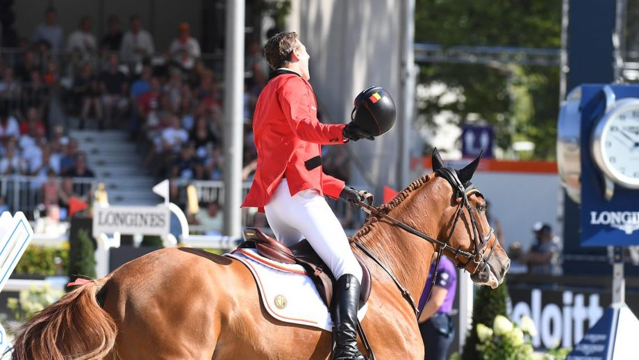 Jos Verlooy, pictured winning individual bronze at the 2019 European, will miss the Tokyo Olympics as his top ride Igor is injured.