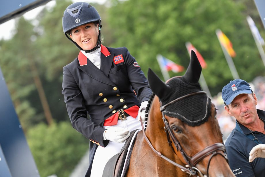 Laura Collett and London 52 at the 2019 European Championships Laura Collett and London 52 leaving the arena after their dressage test at the European Eventing Championships 2019, with British performance manager Dickie Waygood alongside.