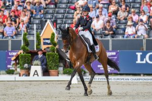Laura Collett riding her five-star event horse London 52 at the European Eventing Championships.