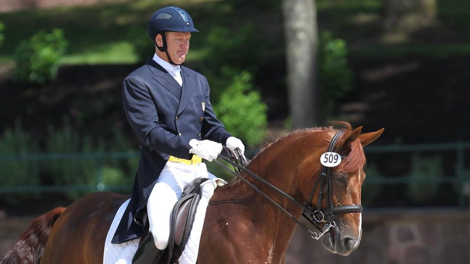 14 June 2014: Michael Barisone riding Ellegria in the FEI Grand Prix Special of the United States Dressage Festival of Champions and WEG Selection Trials at the United States Equestrian Team Foundation in Gladstone, New Jersey. (Photo by Jennifer Wenzel/Icon SMI/Corbis via Getty Images)