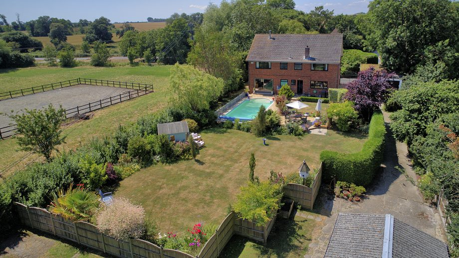 Welcome to the Haven: an aptly named horsey set-up with three stables and an outdoor school for them and a heated swimming pool for you…