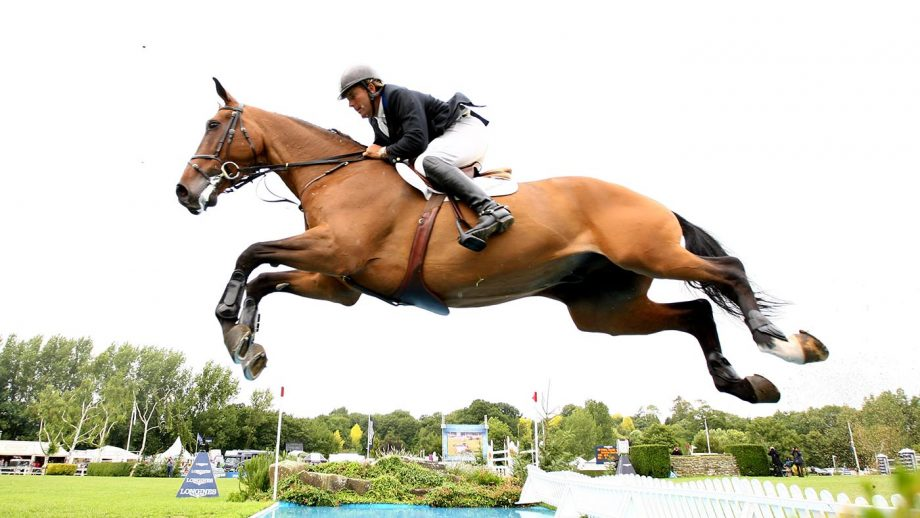 SAYERS COMMON, ENGLAND - JULY 26: William Funnell of Great Britain ridding Cortaflex Mondriaan going over the water jump during the Longines King George V Gold Cup at the Longines International Horse Show at Hickstead on July 26, 2009 in Sayers Common, England. (Photo by Phil Cole/Getty Images)