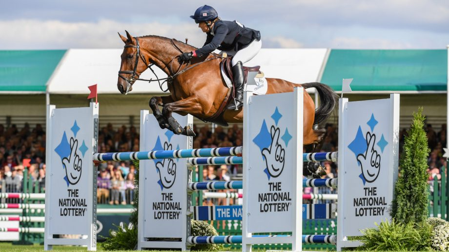 Pippa Funnell (GBR) riding MGH GRAFTON STREET during the showjumping phase of the Land Rover Burghley Horse Trials with MGH GRAFTON STREET in the grounds of Burghley House near Stamford in Lincolnshire in the UK between 5 - 8th September 2019