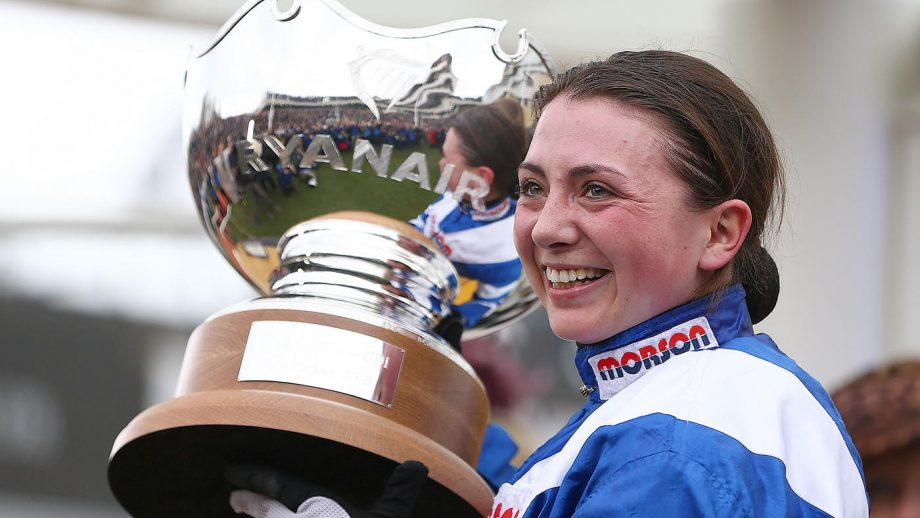Bryony Frost CHELTENHAM, ENGLAND - MARCH 14: Jockey Bryony Frost poses with the trophy after she rides Frodon to victory during the Ryanair Chase during St Patrick's Thursday at Cheltenham Racecourse on March 14, 2019 in Cheltenham, England. (Photo by Michael Steele/Getty Images)