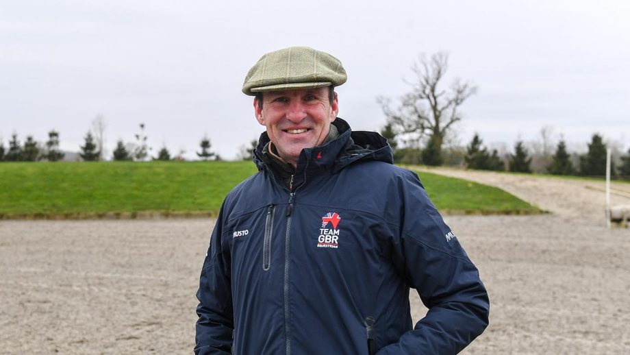 Richard Waygood, in the new British Kit from Musto, during the Team GB training session at Washbrook Farm in the village of Aston-le-Walls near Daventry in the county of Northamptonshire in the UK on the 8th February 2018