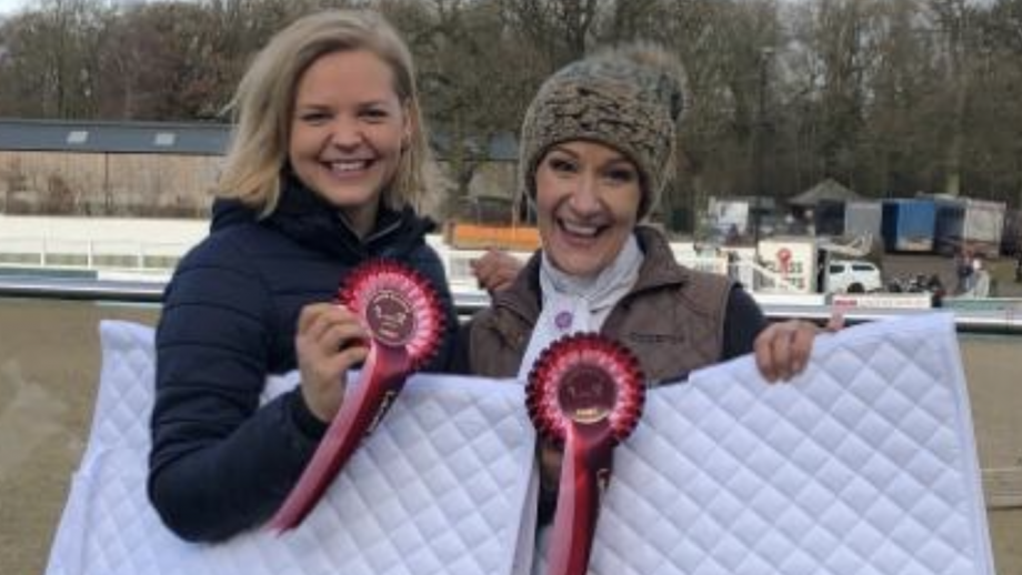 Clare Taylor Reeves and Annie Choma are contesting a pairs hunter trial to raise awareness of breast cancer and the importance of checking your boobs.