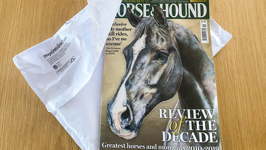 Horse & Hound magazine will be delivered in recylable paper wrapping.