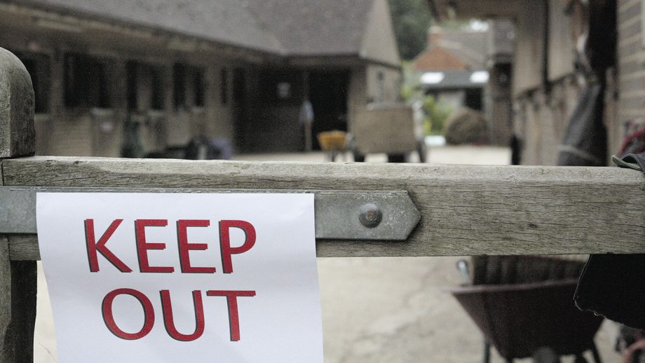 A yard on lock down due to an infectious disease