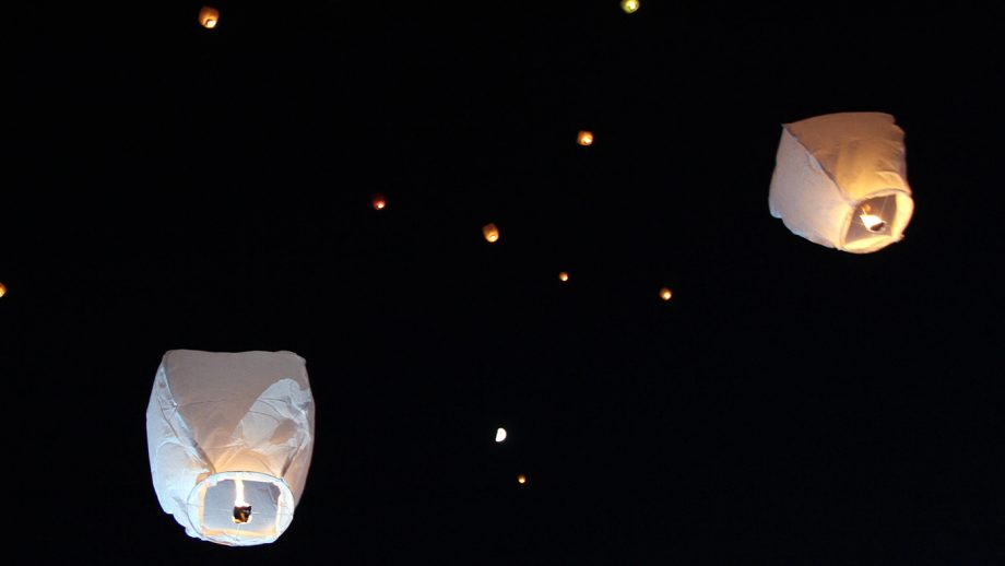 Sky lanterns floating in the sky. Deepavali lights festival. Chinese sky lanterns. Diwali celebration, the festivals of the light.
