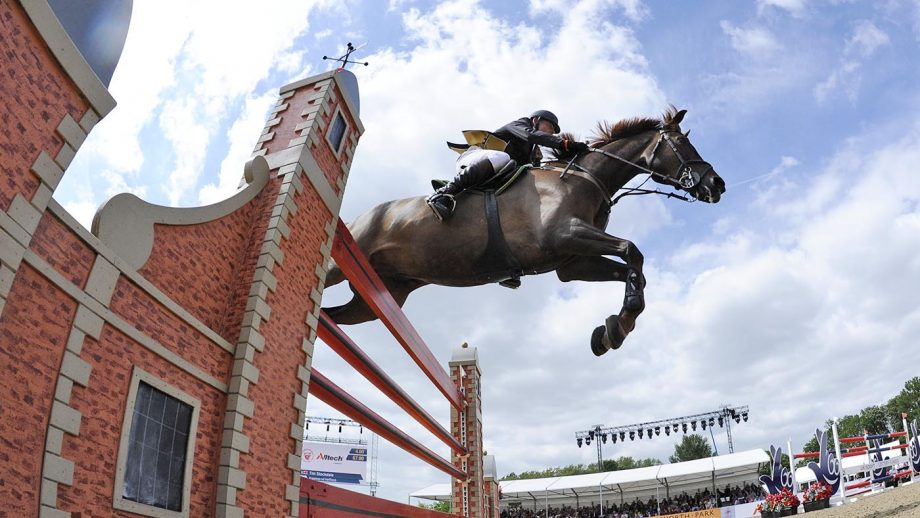 at the Grand Prix for The Kingdom of Bahrain Trophy International Jumping Competition 1.60m during the Royal Windsor Horse Show in Windsor Castle, Berkshire, UK between 13th-17 May 2015