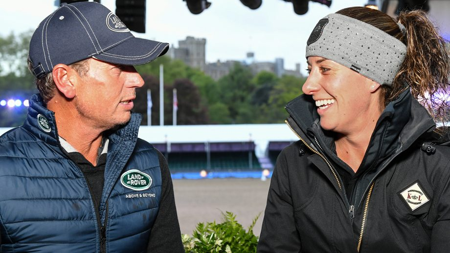 Carl Hester and Charlotte Dujardin during the Royal Windsor Horse Show held in the private grounds of Windsor Castle in Berkshire in the UK between on 8th-12th May 2019