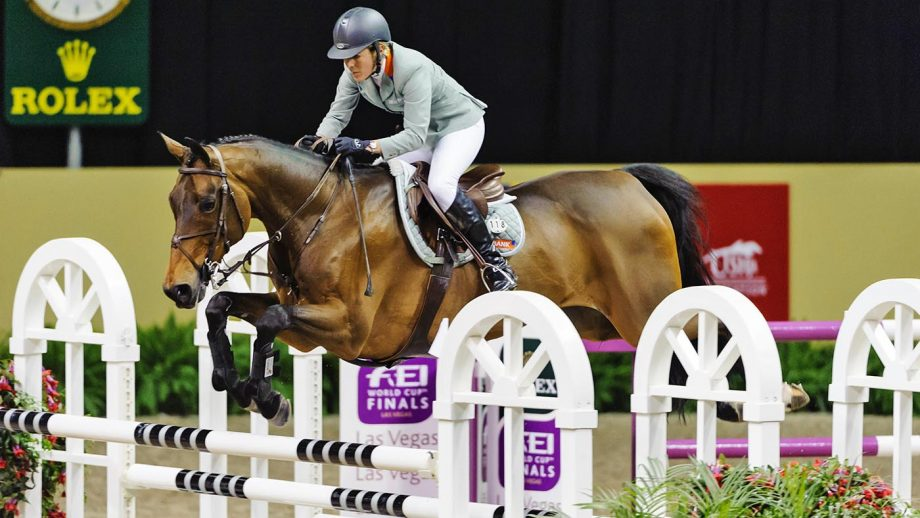 PEABRR Rolex World Cup Finals, Thomas and Mack Centre, Las Vegas, Nevada, USA, April 2009. Jumping Final, Meredith Michaels-Beerbaum (GER) riding Shutterfly