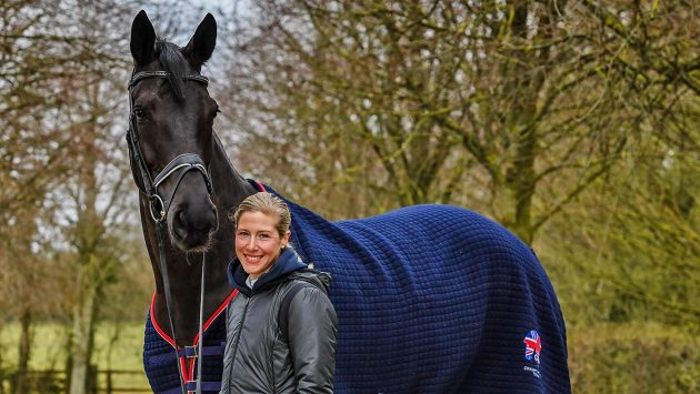 AAA with Laura Tomlinson Rose of Bavaria at her yard; Cranmore Farm, near Tetbury in Gloucestershire in the UK, on the 17th March 2020
