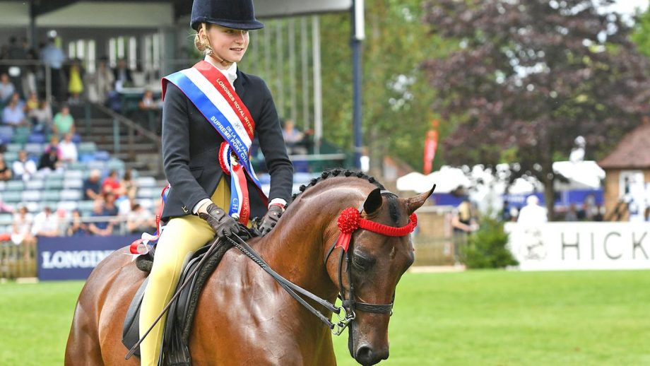 DRAKEMYRE PUTTIN ON THE RITZ owned by Henrietta Till and exhibited by India Till winner of the Supreme Ridden Pony Championship during The Longines Royal International Horse Show held at The All England Jumping Course in Hickstead near Burgess Hill in West Sussex in the UK between 23-28th July 2019