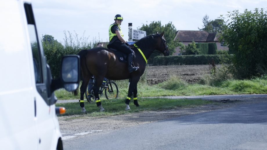 road safety cyclists cycle bycycle high vis viz Shelley Rand with her two horses, tom and henry (with the star)