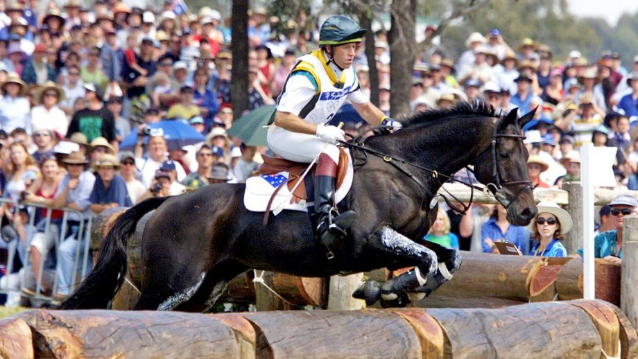 21 Sep 2000: Andrew Hoy from Australia on Swizzle In jumps towards a water jump in the Individual three day equestrian event during the Sydney 2000 Olympics in Sydney, Australia. DIGITAL IMAGES Mandatory Credit: Darren McNamara/ALLSPORT