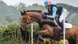 Katie Preston enjoys a run on her five-star horse Templar Justice