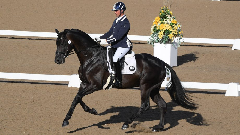 Jezz Palmer rides King IV to novice gold freestyle victory at the Winter Dressage Championships 2020 - they have been selected for the FEI World Breeding Federation Dressage Championships for Young Horses
