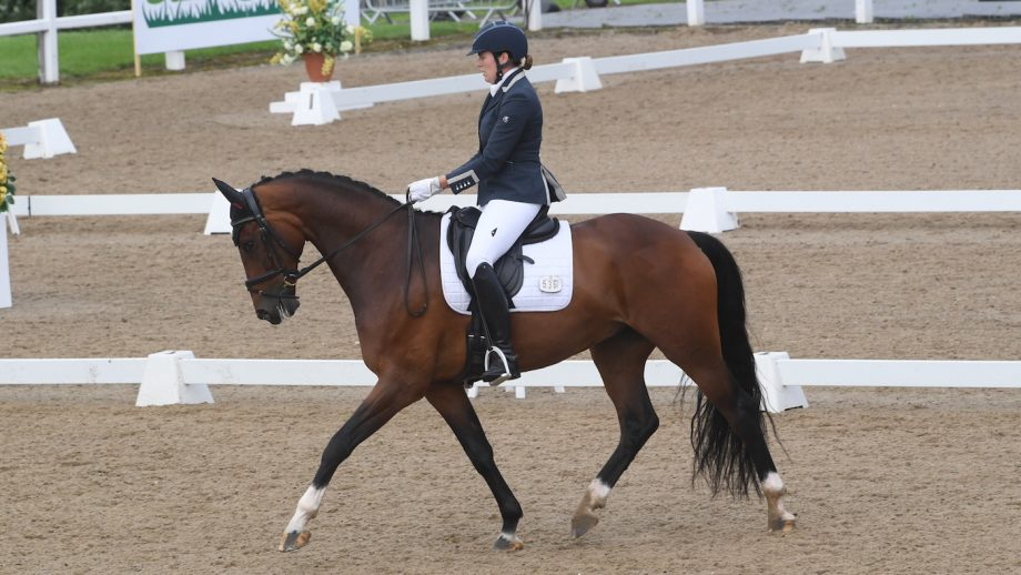 Lauren Williamson and Vancouver LG on their way to winning the freestyle novice silver at the Winter Dressage Championships 2020 at Hartpury