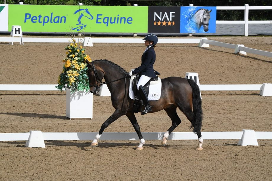 Camille Peters and SL Lucci win the medium silver freestyle at the Winter Dressage Championships at Hartpury