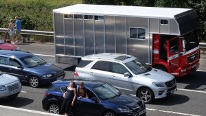 Stationary traffic on the M5 including a horsebox