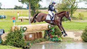 Piggy March riding Cooley Lancer at Keysoe International.