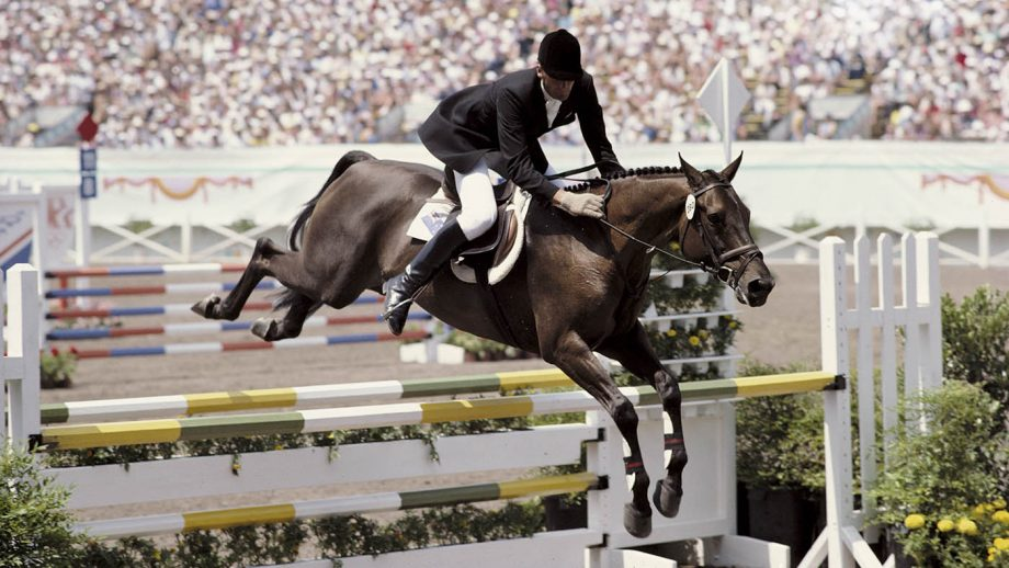 Mark Todd riding his event horse Charisma at Los Angeles Olympics