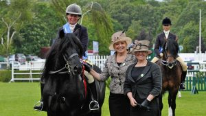 Lydvale Jacob and Victoria Edwards-Sonnex at Hickstead with judges Pat Pattinson (centre) and Sharon Thomas (right).