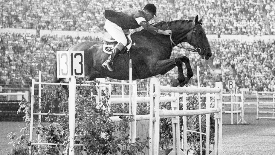 Col. Harry Llewellyn riding showjumping Foxhunter at the 1952 Olympic Games in Helsinki.