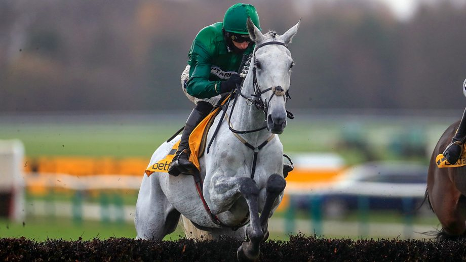 Bristol De Mai ridden by Daryl Jacob on their way to winning the Betfair Chase at Haydock Racecourse.