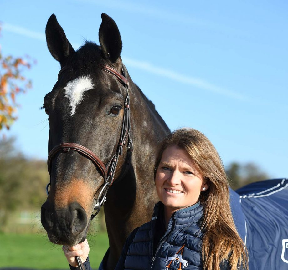 Jessica Burke with Express Trend at the yard she is based at, Arion Stud, in the village of Hambledon near Waterlooville in Hampshire in the UK on 1 December 2020