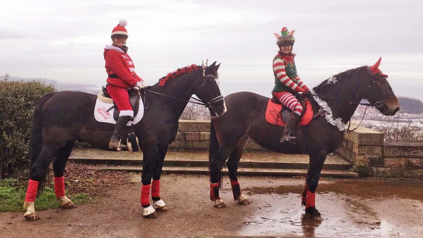Entre no espírito festivo! 13 ideias de fantasias de Natal para cavaleiros de todas as idades e suas montarias (de rena) 10