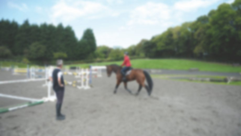 Christopher Bartle with Johanna Beckhoff and Sephir (the next line of german event riders to come to YRC for training with Christopher and attending English classes at the Harrogate Language Academy) at The Yorkshire Riding Centre, Markington near Harrogate, North Yorkshire in the UK on 30th September 2014 training, lesson, coach, teach