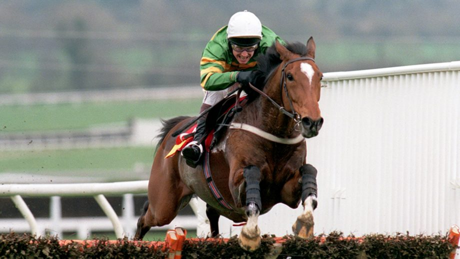 Istabraq ridden by Charlie Swan on the final lap wins the Smurfit Champion hurdle