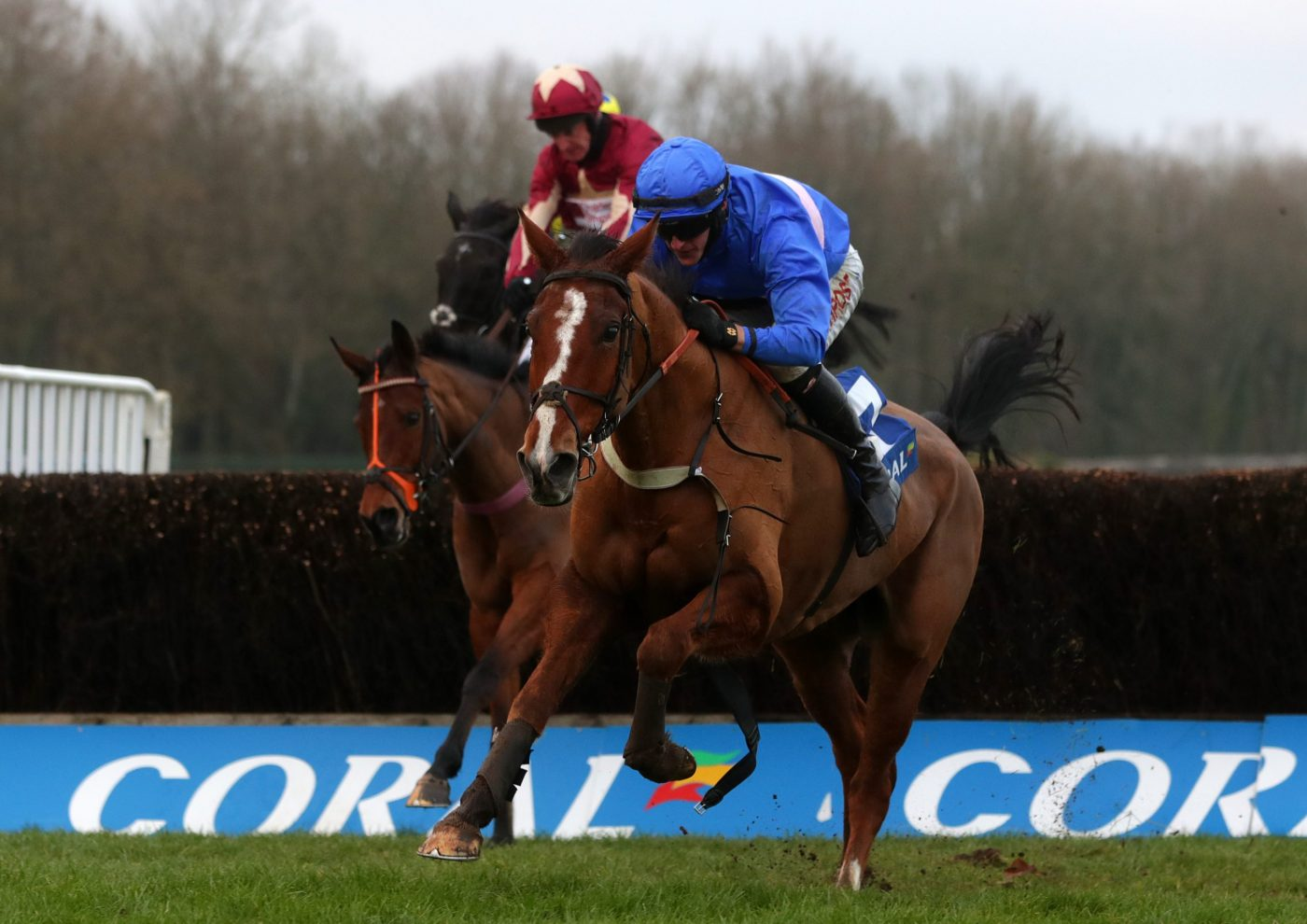 Secret Reprieve ridden by Adam Wedge goes on to win the Coral Welsh Grand National Handicap Chase at Chepstow Racecourse.