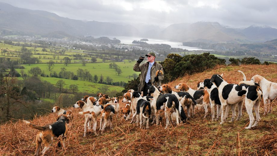 Blencathra Hunt from Millbeck Hall 08.03.16 Barry Todhunter ( H/Man ) with hounds and Derwent Water as a backdrop.