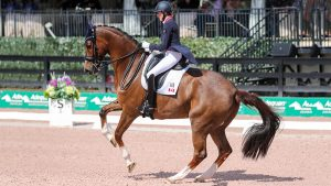 Canada's Brittany Fraser-Beaulieu and All In competing at the Global Dressage Festival in Wellington, USA