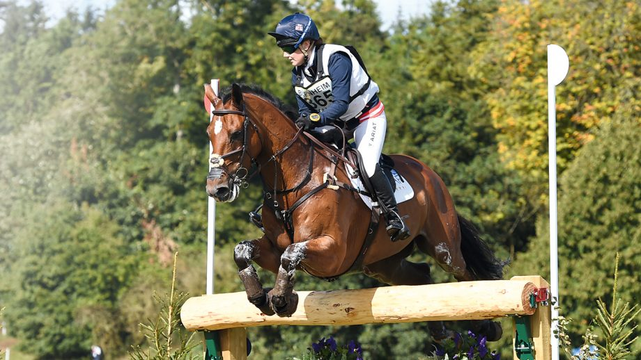Laura Collett riding Mr Bass during the Cross Country phase of the CIC*** 8/9 YO at Blenheim Palace International Horse Trials in the grounds of Blenheim Palace near Oxford in Oxfordshire UK on 11th September 2016