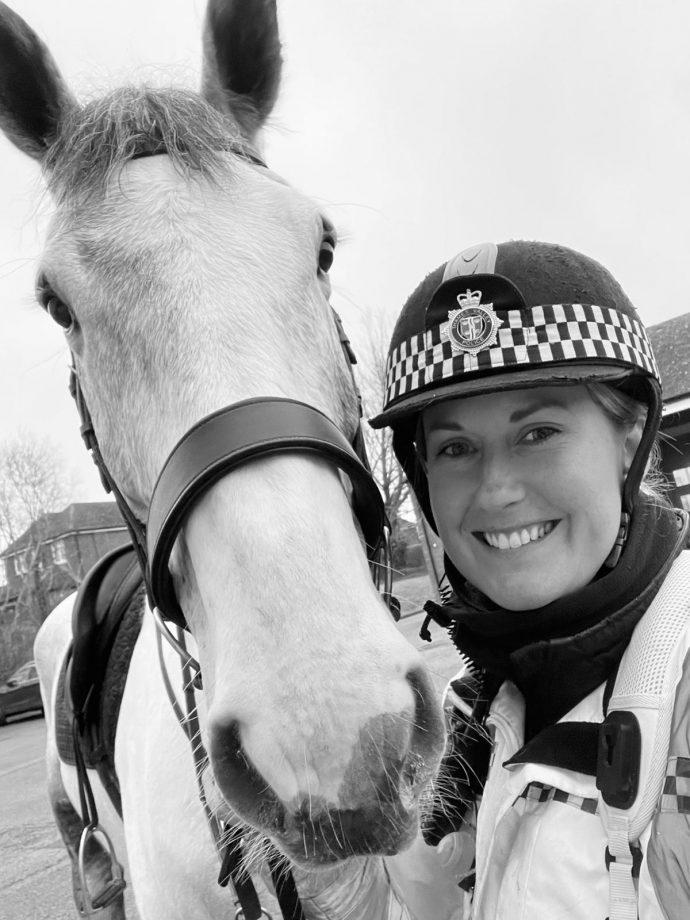 Police horse Roman god Neptune Thames Valley Police