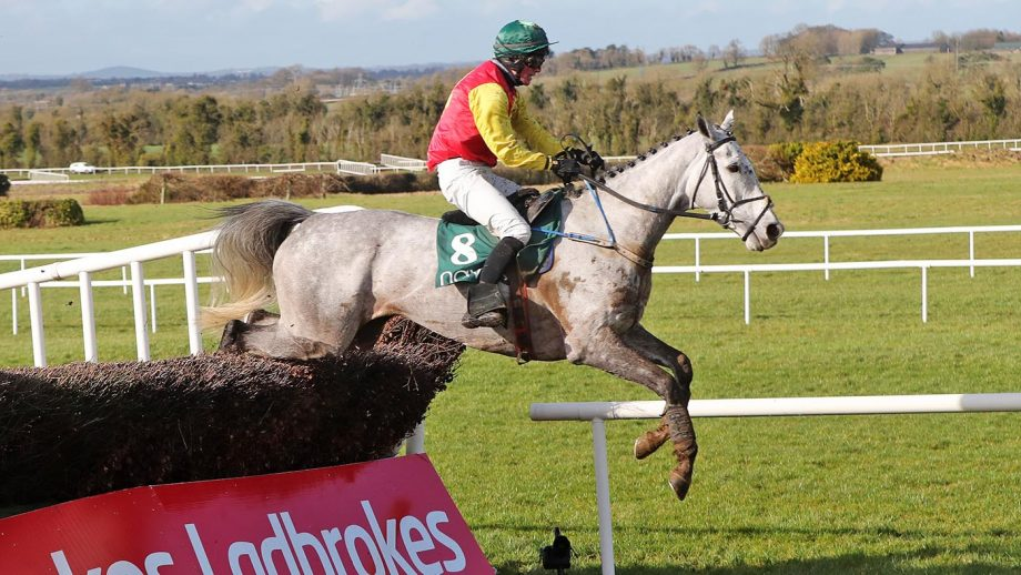 Young Dev ridden by Hugh Morgan jumps the last on the way to winning the Racing Again March 6th Handicap Chase at Navan racecourse. Picture date: Sunday February 21, 2021.