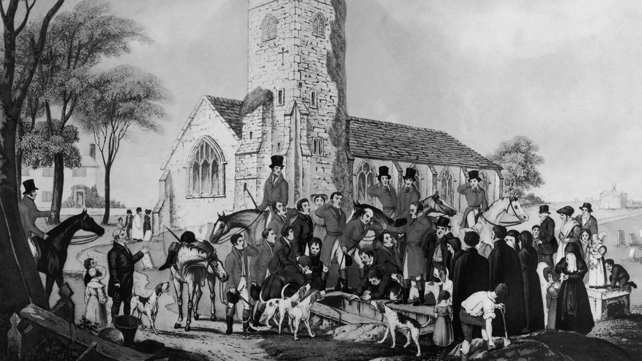 The funeral of celebrated Whipper Tom Moody at Willey Church in Shropshire. Moody worked for George Forrester Esq of Willey Hall for thirty years and his last wishes were that the hunt would 'give a rattling view halloo thrice over my grave'. Original artist I. W. Laird, 1841. (Photo by Hulton Archive/Getty Images)